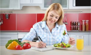 The woman lists all healthy foods as a suggestion of her weight loss nutritionist.